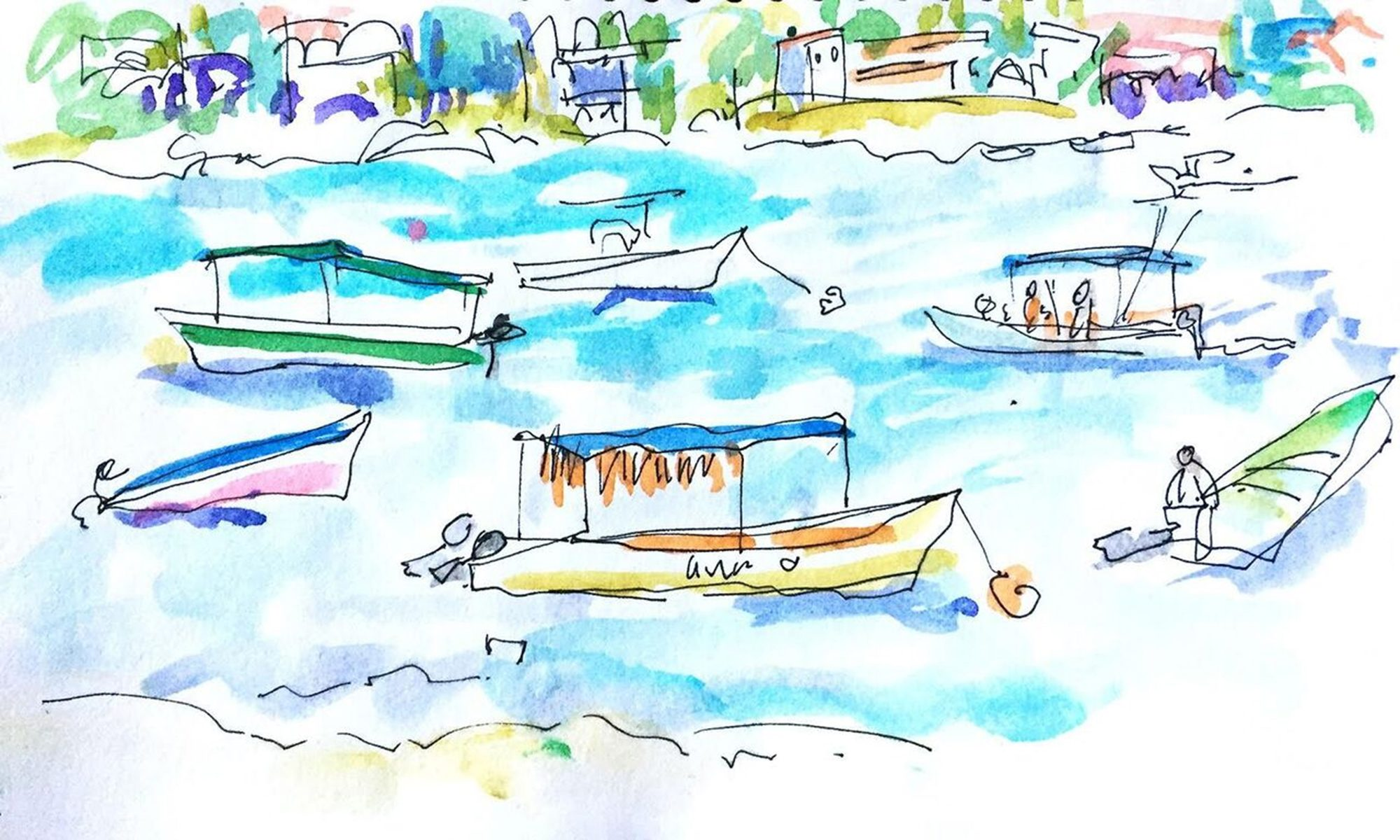watercolor fishing boats